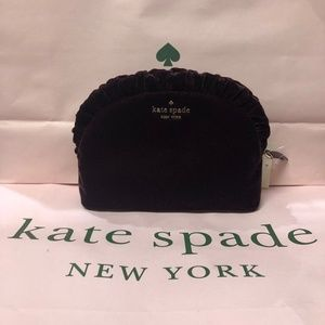 NWT Kate Spade Velvet Medium Ruffle Cosmetic Bag